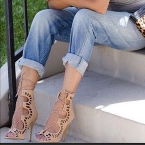 Shoe mint nude lace up heels.